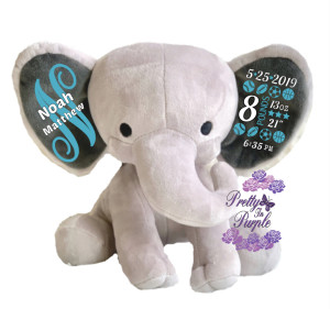 Personalized elephant birth announcement elephant
