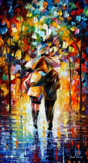 BONDED COUPLE BY THE RAIN — oil painting on canvas