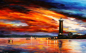 EVENING BY THE LIGHTHOUSE — PALETTE KNIFE Oil Painting