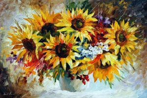 MORNING SUNFLOWERS — oil painting on canvas