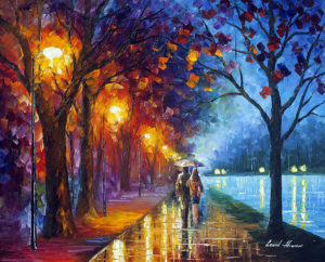 PARK ALLEY BY THE LAKE — oil painting on canvas