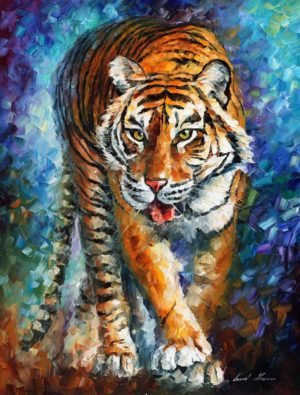SCARY TIGER — oil painting on canvas