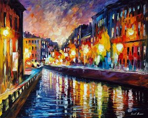 CITY LIGHTS — oil painting