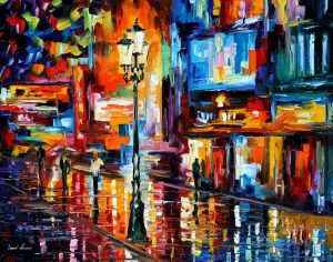 DOWNTOWN LIGHTS — oil painting