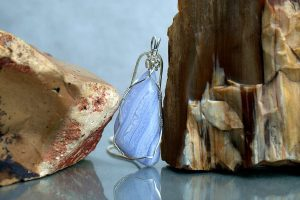 Blue crystal necklace, large lace agate pendant