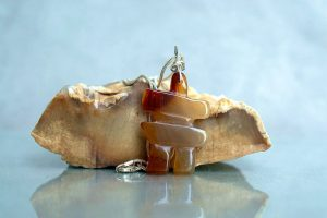 Agate gemstone figurine, Inukshuk charm necklace