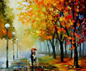 FALL DRIZZLE — oil painting