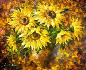 LIVING SUNFLOWERS —  Oil Painting