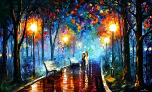 MISTY MOOD — PALETTE KNIFE Oil Painting On Canvas By Leonid Afremov