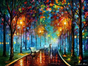 MISTY MOOD NIGHT — PALETTE KNIFE Oil Painting On Canvas By Leonid Afremov