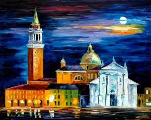 MOON ABOVE VENICE — oil painting