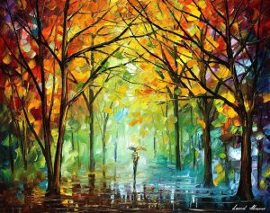 OCTOBER IN THE FOREST — PALETTE KNIFE Oil Painting On Canvas By Leonid Afremov