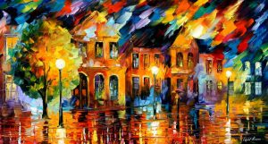 OLD STREET LIGHTS — oil painting