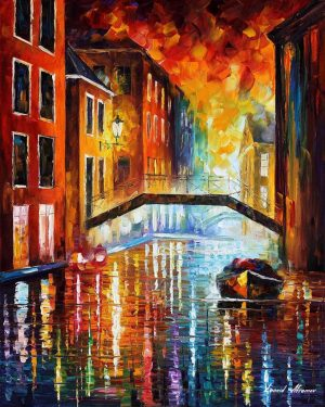 THE CANALS OF VENICE AT NIGHT — oil painting