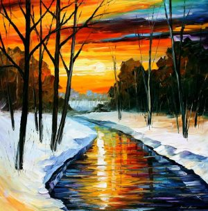 WINTER RIVER — oil painting