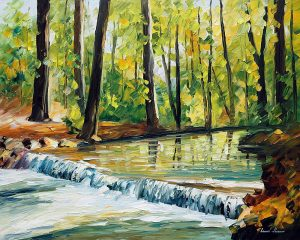 SPRING STREAM — oil painting on canvas