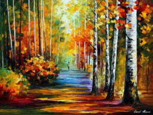 AUTUMN FOREST ROAD —  oil painting