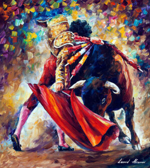BULL FIGHT — oil painting