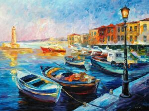 FISHING BOATS — oil painting