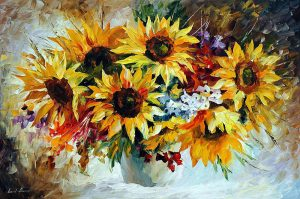 MORNING SUNFLOWERS — oil painting