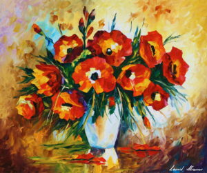 RED FLOWERS — oil painting