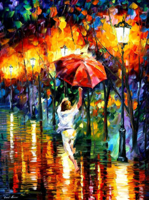 RED UMBRELLA — oil painting