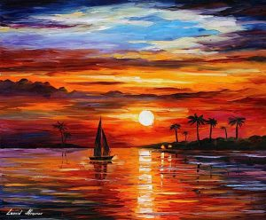 SUNSET IN THE BEACH — oil painting