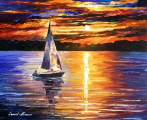SUNSET OVER THE LAKE — oil painting