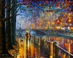 ALLEY BY THE RIVER — oil painting