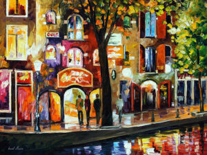 AMSTERDAM – THE RED LIGHT DISTRICT — oil painting