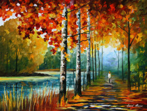 AUTUMN BY THE LAKE — oil painting