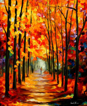 AUTUMN RED ALLEY — oil painting