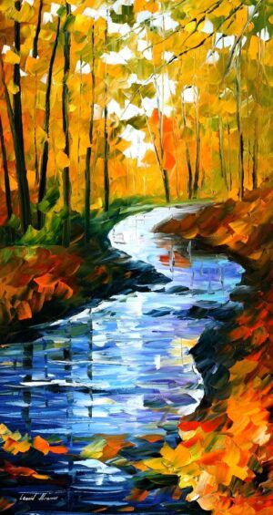 AUTUMN STREAM AMBIENCE — oil painting
