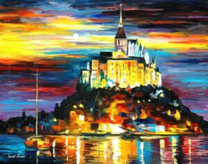 CASTLE ABOVE THE HARBOR — oil painting