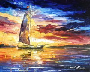 EVENING SAILING IN CANCUN— oil painting