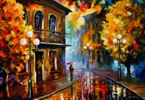 FALL RAIN AT NIGHT — oil painting