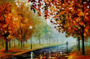 FOGGY AUTUMN — oil painting