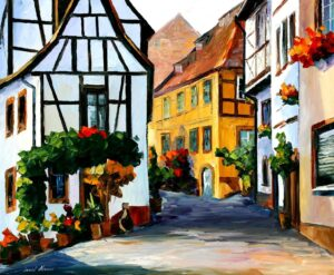 GERMANY – TOWN ON THE HILL — oil painting