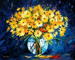 YELLOW ON BLUE — oil painting